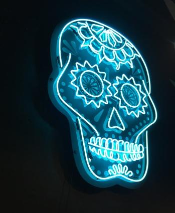 Blue Neon Sugar Skull Light