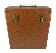 Tan Leather Vinyl Storage Case