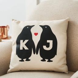 Personalised Penguin Love Cushion