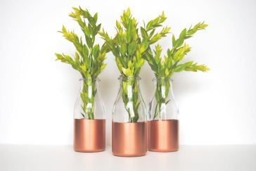 Copper Sprayed Milk Bottle Vases