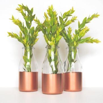 Copper Sprayed Milk Bottle Vases