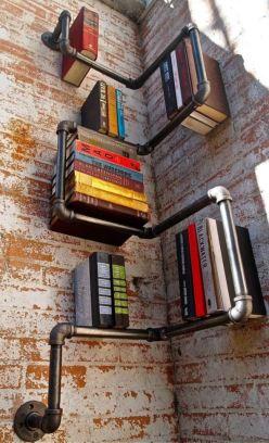 Corner Pipe Book Shelf