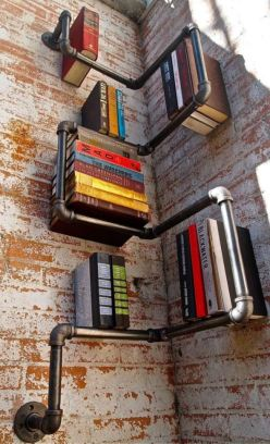 Corner Pipe Book Shelf