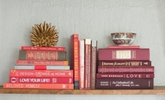 Books Stacked on a Shelf