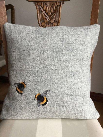 Harris Tweed Bee Cushion